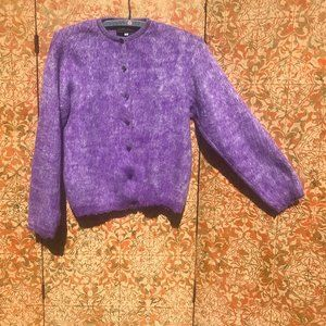 Fuzzy Purple Long-hair Cashmere Cardigan Sweater